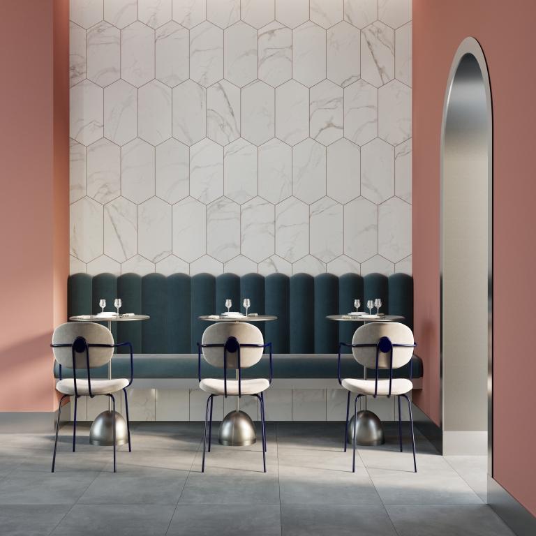 Carrara White Marble Oblong Hexagon - Polished