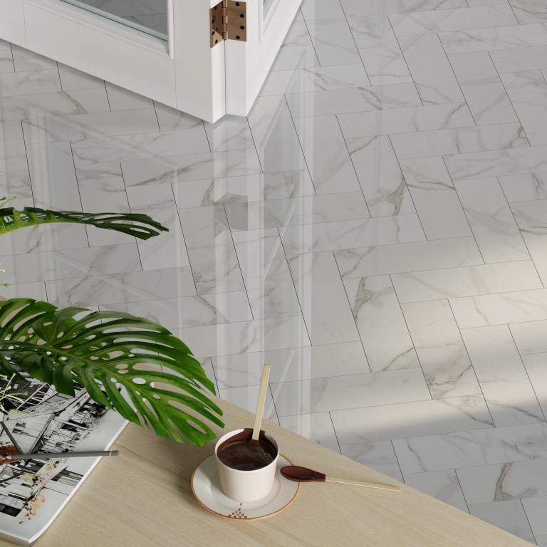 Carrara White Marble Herringbone - Polished